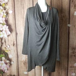 Bobeau  grey  wrap/cardigan size XL